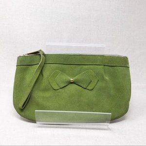 Vintage Green Suede Leather Wristlet Purse w/ Bow